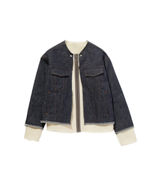 FALL2019 COLLARLESS DENIM BLOUSONネイビー