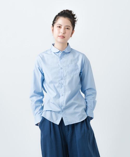 【GRANDMA MAMA DAUGHTER/グランマ ママ ドーター】# ROUND COLLAR SHIRT ラウンドカラーシャツ GS117