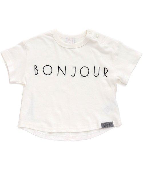 ボンジュール刺繍半袖Tシャツ