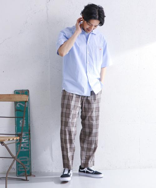 DANTON コットンポプリン半袖ワイドシャツ