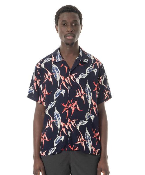 Sandinista(サンディニスタ)の「Rayon Open Collar Aloha S/S Shirt / アロハレーヨンシャツ(シャツ/ブラウス)」|ネイビー