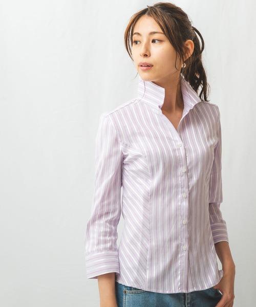 イタリアン細ストライプスタンドカラー七分袖シャツ
