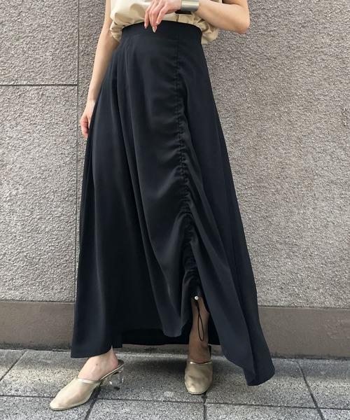 &g'aime(アンジェム)の「【&g'aime】ストリングフレアスカート(スカート)」|ブラック