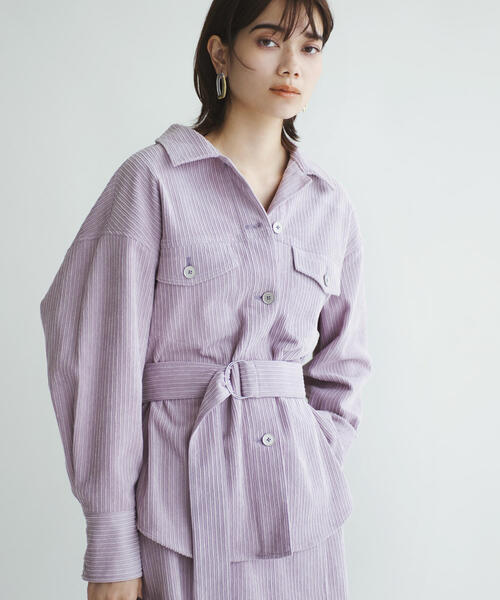 EMMEL REFINES(エメルリファインズ)の「SMF PE/C/RY コーデュロイシャツ(シャツ/ブラウス)」|ライラック