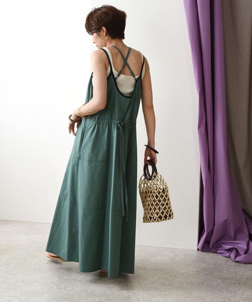 フロントボタンWストラップドレス