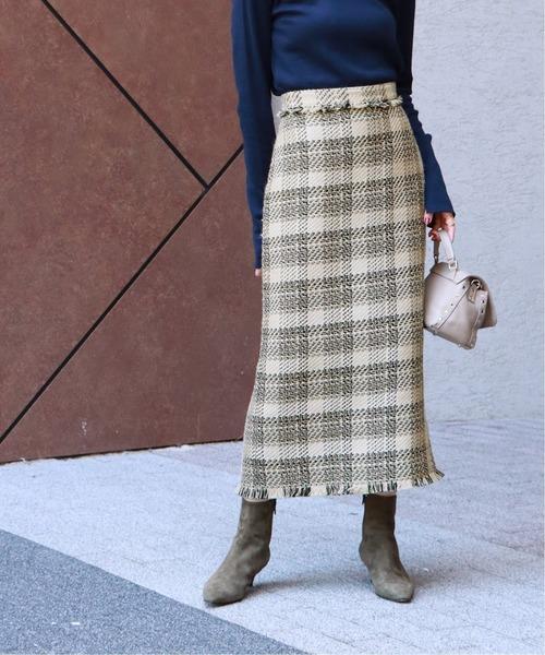 NOBLE(ノーブル)の「ミックスツィードマキシタイトスカート◆(スカート)」|ベージュ