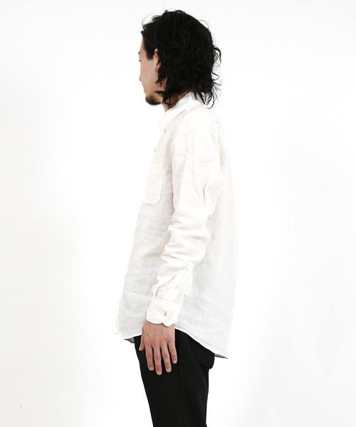 Hardmansリネンチビ衿ボタンダウンL/Sシャツ