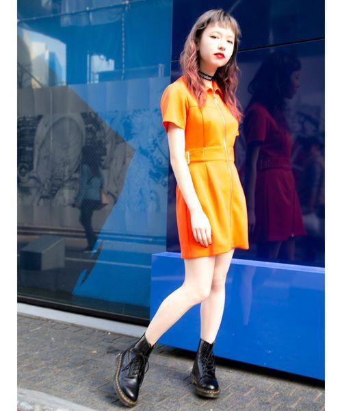 jouetie(ジュエティ)の「ジャージワンピース/タイト(ワンピース)」|オレンジ