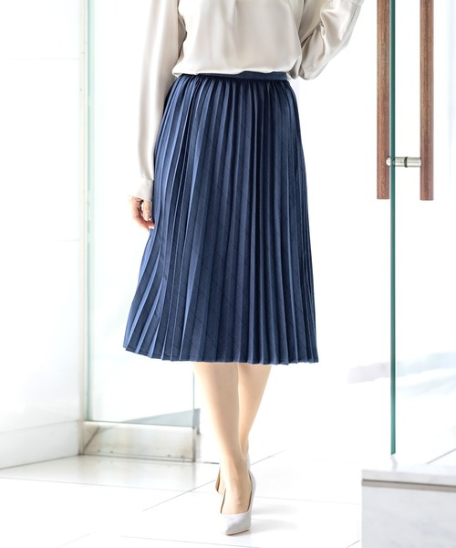 【T/Rウィンドペン】ウール混アコーディオンプリーツスカート(裏地付き)