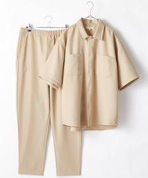 【セットアップ】スタプレ オーバーサイズ半袖ワークシャツ&ワイドテーパードイージーパンツベージュ