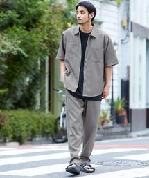 【セットアップ】スタプレ オーバーサイズ半袖ワークシャツ&ワイドテーパードイージーパンツベージュ系その他