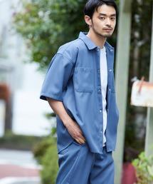 【セットアップ】スタプレ オーバーサイズ半袖ワークシャツ&ワイドテーパードイージーパンツブルー系その他