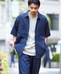 【セットアップ】スタプレ オーバーサイズ半袖ワークシャツ&ワイドテーパードイージーパンツネイビー