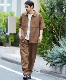 【セットアップ】スタプレ オーバーサイズ半袖ワークシャツ&ワイドテーパードイージーパンツブラウン