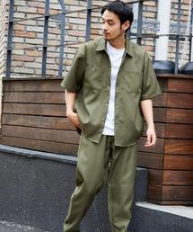 【セットアップ】スタプレ オーバーサイズ半袖ワークシャツ&ワイドテーパードイージーパンツカーキ