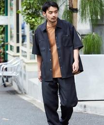 【セットアップ】スタプレ オーバーサイズ半袖ワークシャツ&ワイドテーパードイージーパンツブラック