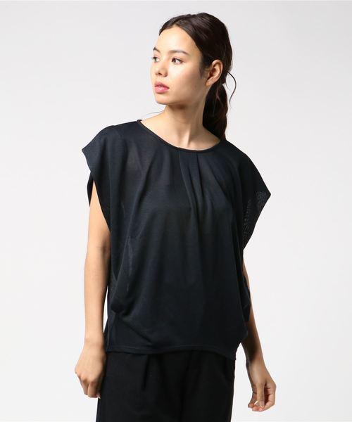 エムエフエディトリアルレディース/m.f.editorial:Women ドライセルガーゼノースリゆるプルオーバーTシャツ( カーキ・ネイビー)【COOLBIZ:クールビズおすすめアイテム】