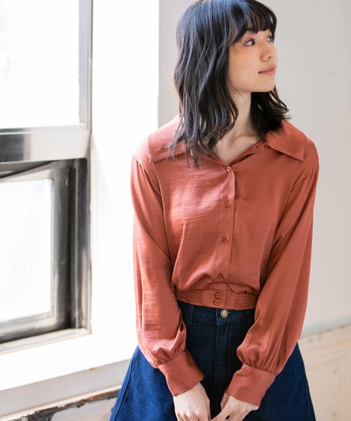 ビッグカラーサテンシャツ