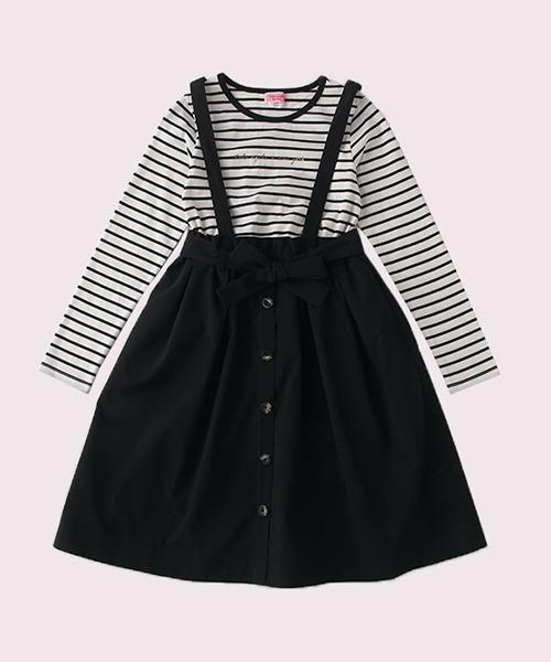 kate spade new york childrenswear(ケイトスペードニューヨーク)の「ガールズ ミックスメディアドレス(ワンピース)」|ブラック