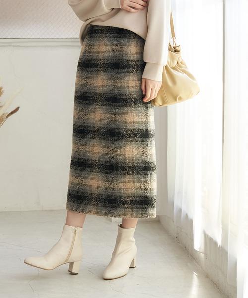 ROPE' PICNIC(ロペピクニック)の「【WEB限定カラー:ベージュ】BIGチェックアイラインロングスカート(スカート)」|ベージュ系その他