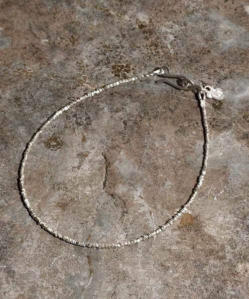 Micro silver beads anklet