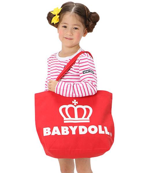 BABYDOLL(ベビードール)の「通販限定★レッスンバッグにも使える♪王冠ロゴトートバッグ/Mサイズ横型7311(トートバッグ)」|レッド