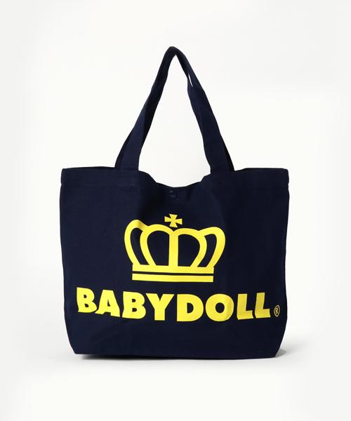 BABYDOLL(ベビードール)の「通販限定★レッスンバッグにも使える♪王冠ロゴトートバッグ/Mサイズ横型7311(トートバッグ)」|ネイビー