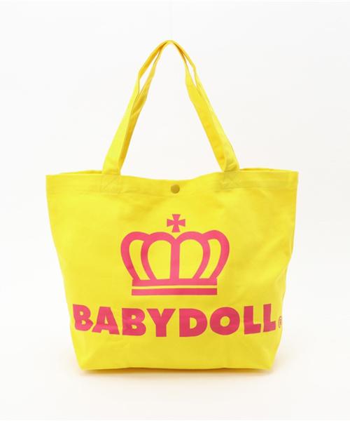 BABYDOLL(ベビードール)の「通販限定★レッスンバッグにも使える♪王冠ロゴトートバッグ/Mサイズ横型7311(トートバッグ)」|イエロー