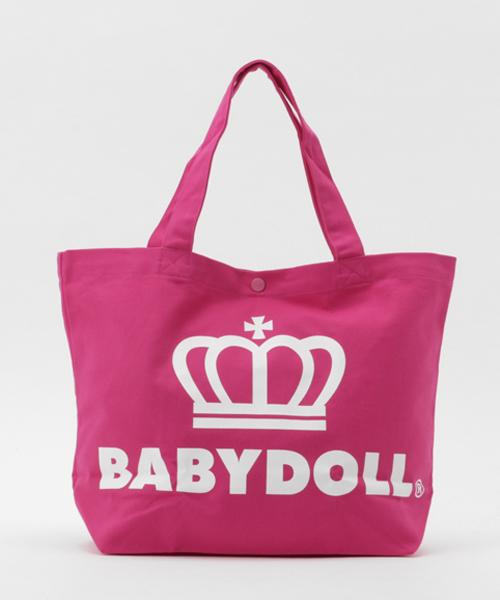 BABYDOLL(ベビードール)の「通販限定★レッスンバッグにも使える♪王冠ロゴトートバッグ/Mサイズ横型7311(トートバッグ)」|サーモンピンク