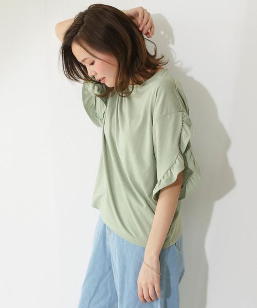 袖コンシャスゆったりスリーブフレアフリルTシャツ