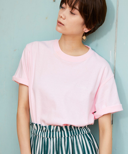 CONVERSE / コンバース ロゴ刺繍 オーバーサイズ クルーネック 半袖Tシャツ
