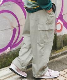 ワイドシルエット 6ポケット カツラギ ロング カーゴパンツ2021SSグレー