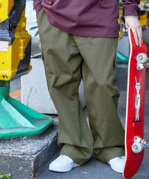 ワイドシルエット 6ポケット カツラギ ロング カーゴパンツ2021SSカーキ