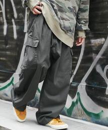 ワイドシルエット 6ポケット カツラギ ロング カーゴパンツ2021SSチャコールグレー