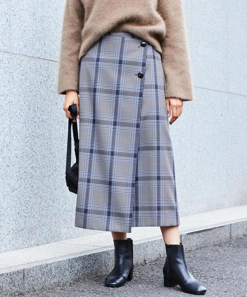 BY∴ チェックラップボタンスカート ◆