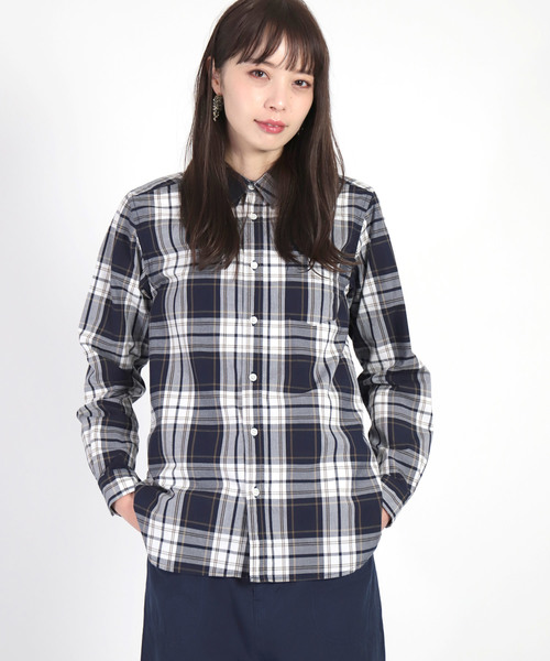 [D.M.G / ディーエムジー] タイプライターチェック レギュラーカラーシャツ