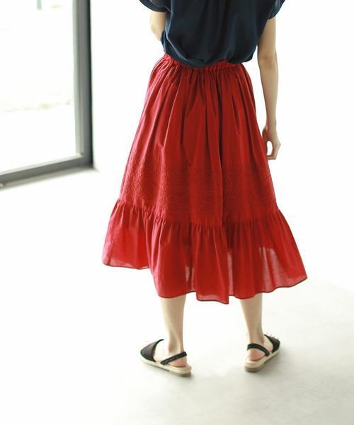 【セットアップ対応】ギャザーエンブロイダリーロングスカート