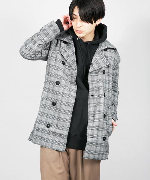 GTN/綿麻グレンチェック スプリングコート トレンチ