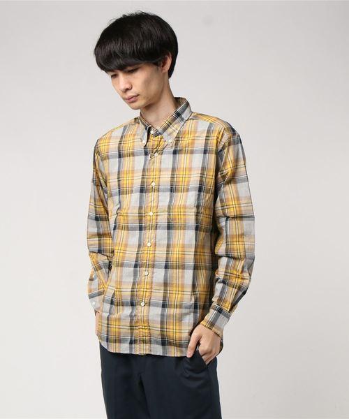 THE BASICS / ザベーシックス トップ糸チェックロングスリーブシャツ TOP CHECK L/S