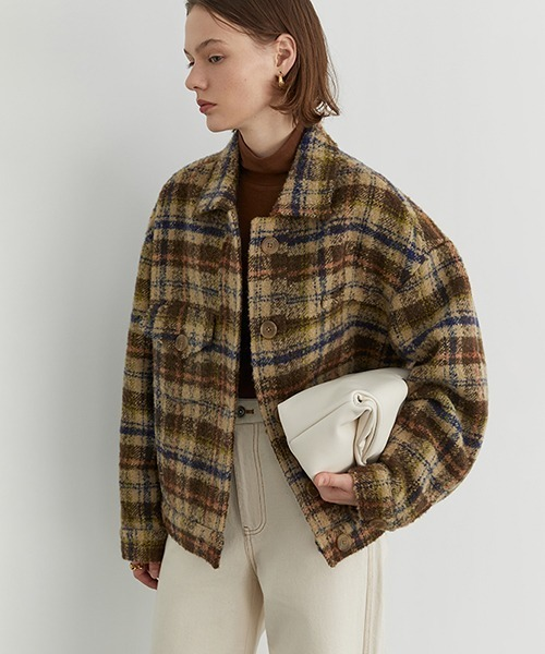 【Fano Studios】Shadow check bal collar wool jacket FD20W072