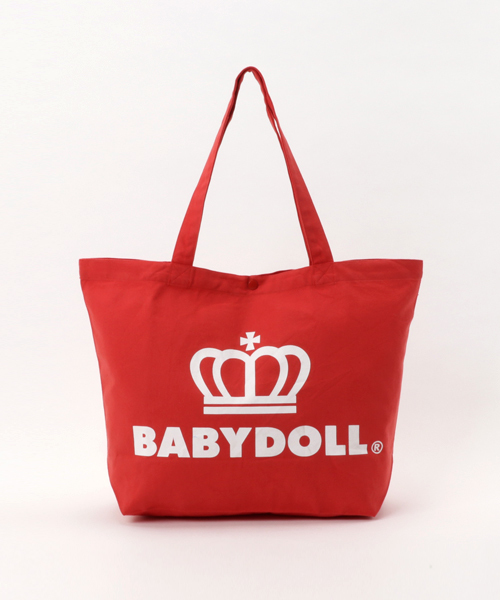 BABYDOLL(ベビードール)の「通販限定★大容量!マザーズバッグにも使える♪王冠ロゴトートバッグ/Lサイズ7312(トートバッグ)」|レッド