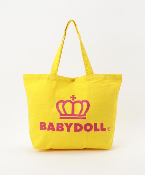 BABYDOLL(ベビードール)の「通販限定★大容量!マザーズバッグにも使える♪王冠ロゴトートバッグ/Lサイズ7312(トートバッグ)」|イエロー