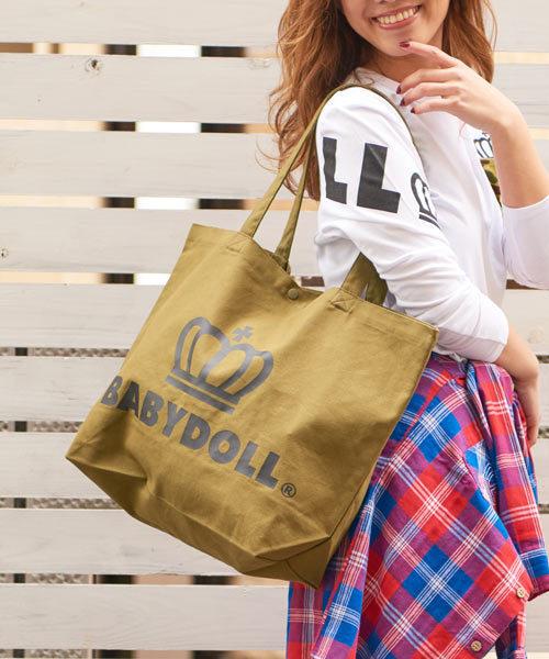 BABYDOLL(ベビードール)の「通販限定★大容量!マザーズバッグにも使える♪王冠ロゴトートバッグ/Lサイズ7312(トートバッグ)」|カーキ