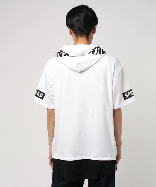 サイドジップ裾フェイクパーツポイント切り替えボックスロゴプリント半袖Tシャツカットソーパーカー