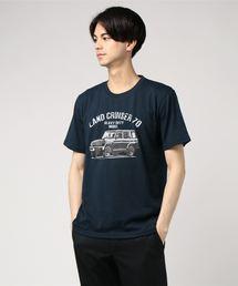OUTDOOR PRODUCTS × ランドクルーザーTシャツ/コラボ/ブランドロゴネイビー