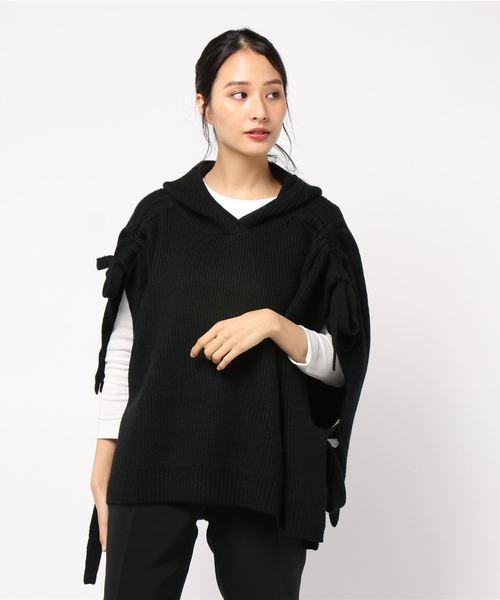 【名入れ無料】 リボンディティールフーディニット(ニット/セーター)|
