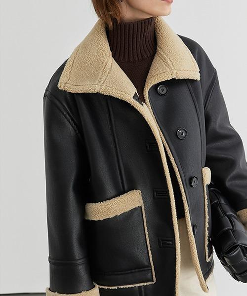 【Fano Studios】【2021AW】Stand collar button mouton jacket FD20W080