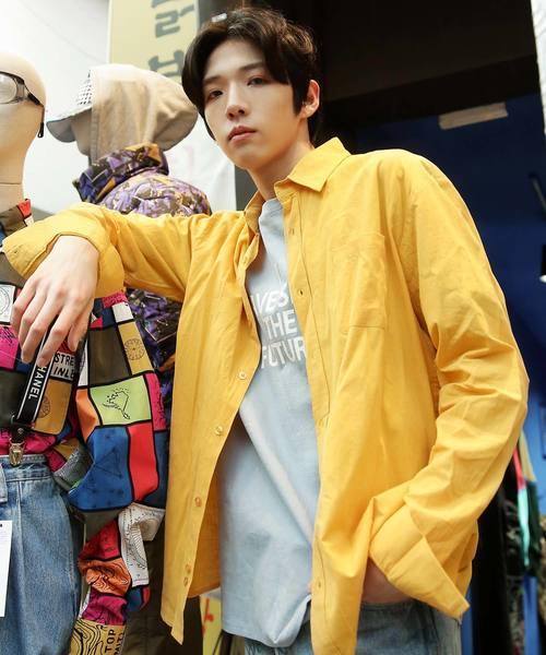【BASQUE -enthusiastic design-】オーバーサイズレギュラーカラーコットンシャツ