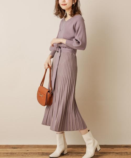 natural couture(ナチュラルクチュール)の「配色ニットプリーツワンピース(ワンピース)」 ラベンダー