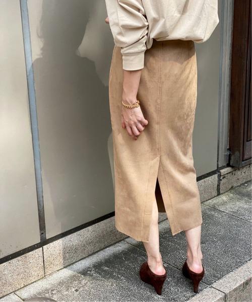 Spick & Span(スピックアンドスパン)の「フェイクスエードストレッチタイトスカート◆(スカート)」 ベージュ